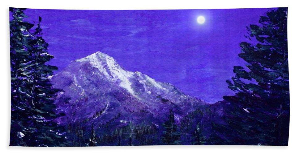 Moon Beach Towel featuring the painting Moon Mountain by Anastasiya Malakhova