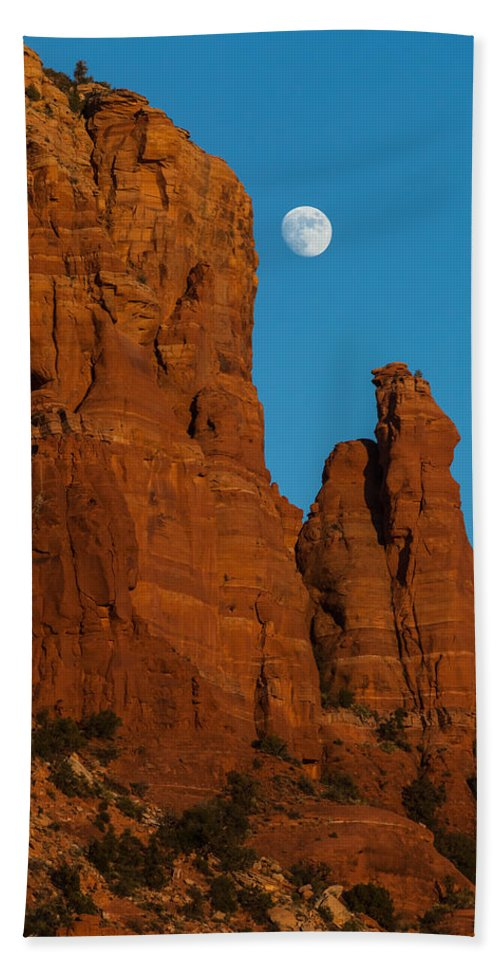 Arizona Beach Towel featuring the photograph Moon Over Chicken Point by Ed Gleichman
