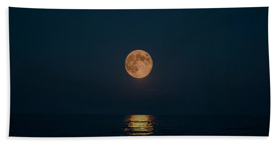 Blue Moon Beach Towel featuring the photograph Moon Over Lake Of Shining Waters by Barbara McMahon