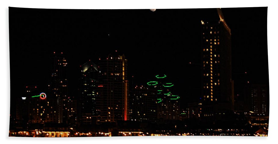 San Diego Beach Towel featuring the photograph Moon Over San Diego by Tommy Anderson