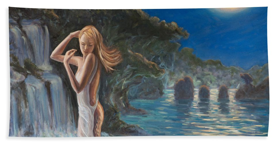 Mermaid Beach Towel featuring the painting Transformed By The Moonlight by Marco Busoni
