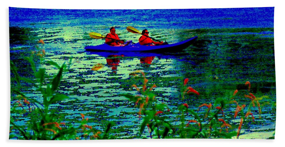 Lachine Canal Beach Towel featuring the painting Moonlight Kayak Ride Along The Coastline Of The Lachine Canal Quebec Sea Scenes Carole Spandau by Carole Spandau