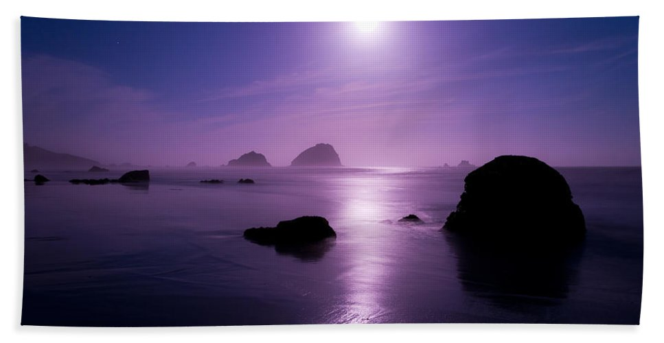 California Beach Towel featuring the photograph Moonlight Reflection by Chad Dutson