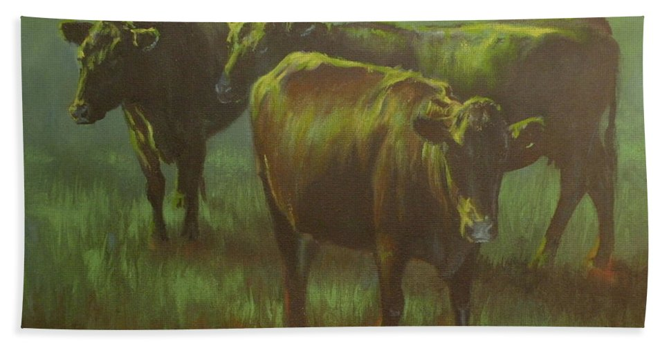 Cows Beach Towel featuring the painting Moonlit by Mia DeLode