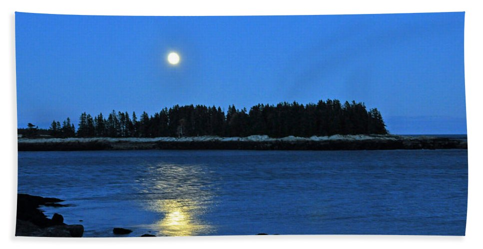Moon Beach Towel featuring the photograph Moonrise Acadia National Park by Glenn Gordon