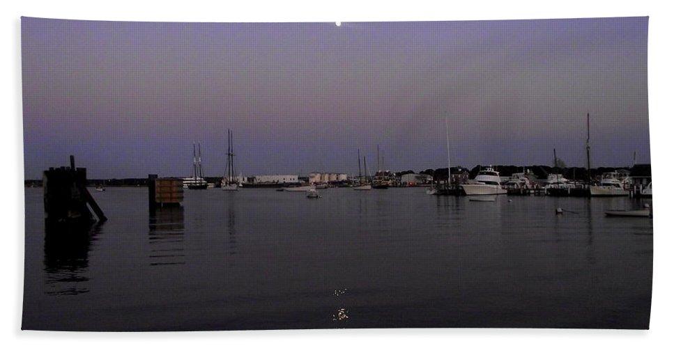 Moonrise Beach Towel featuring the photograph Moonrise Over The Harbor by CapeScapes Fine Art Photography