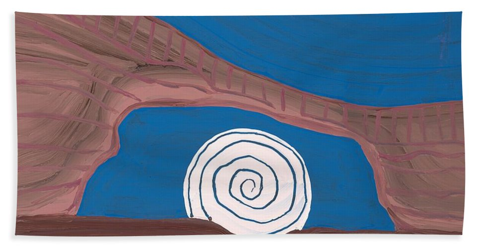 Painting Beach Towel featuring the painting Moonscape Original Painting by Sol Luckman