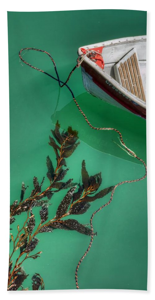 Boat Beach Towel featuring the photograph Moored Boat And Kelp by Nikolyn McDonald