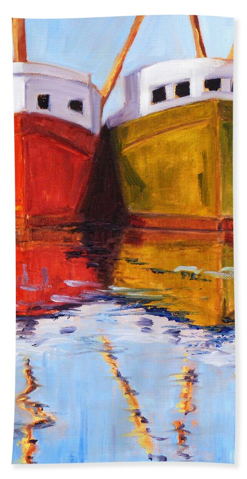 Puget Sound Beach Towel featuring the painting Moored by Nancy Merkle