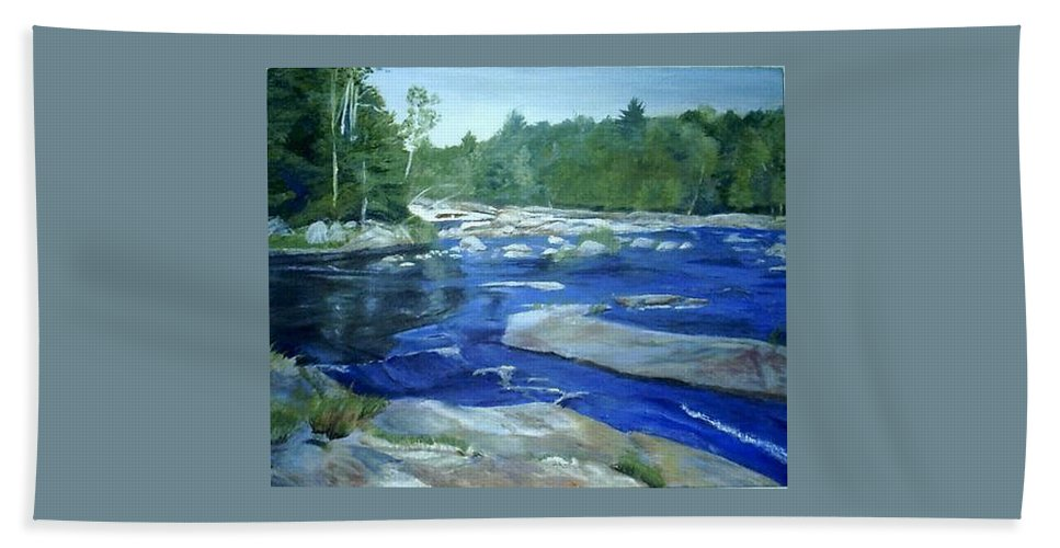 Moose River Beach Towel featuring the painting Moose River Lyons Falls by Sheila Mashaw