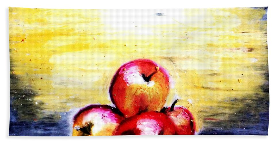 Apples Beach Towel featuring the pastel Morning Apples by Maria Leah Comillas