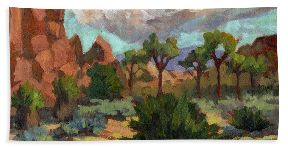 Morning Beach Towel featuring the painting Morning At Joshua by Diane McClary