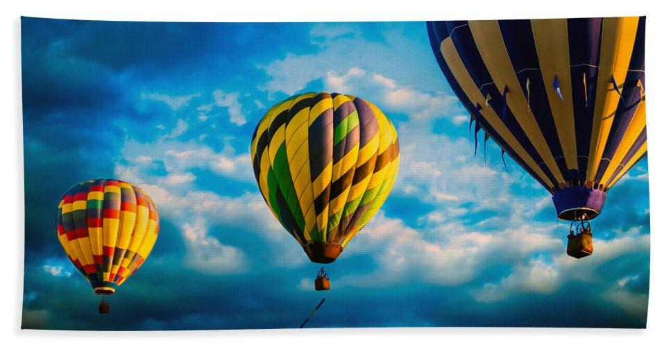Hot Air Balloon Beach Towel featuring the photograph Morning Flight Hot Air Balloons by Bob Orsillo