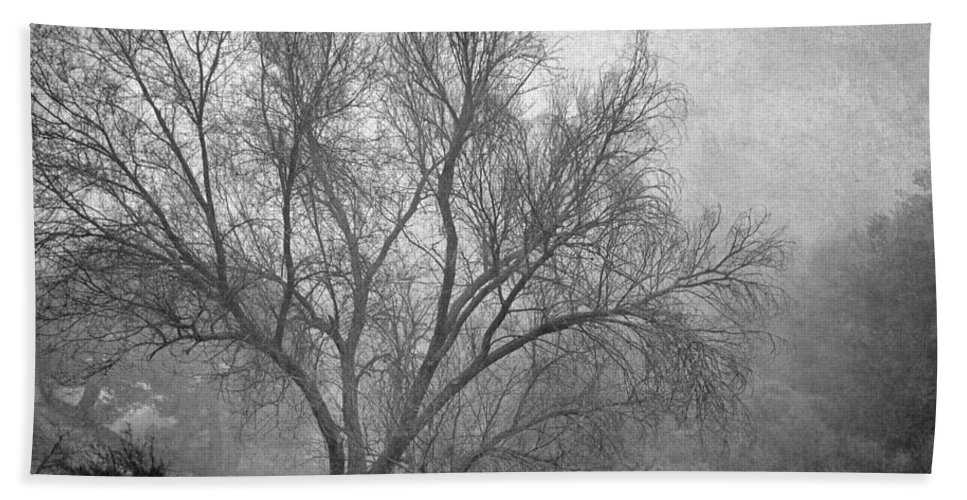 Black And White Beach Towel featuring the photograph Morning In The Fog. M by Guido Montanes Castillo