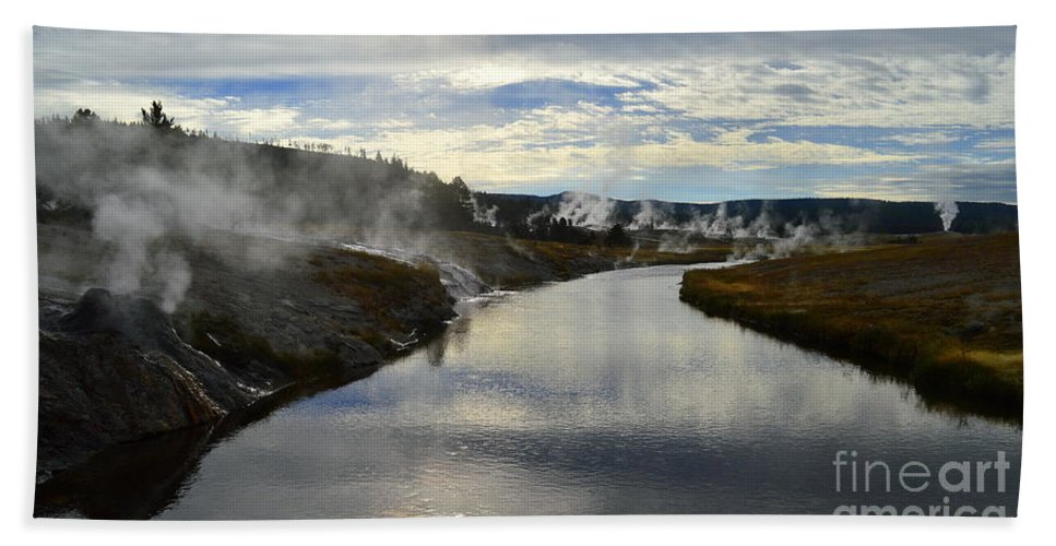 Yellowstone National Park Beach Towel featuring the photograph Morning In Upper Geyser Basin In Yellowstone National Park by Catherine Sherman
