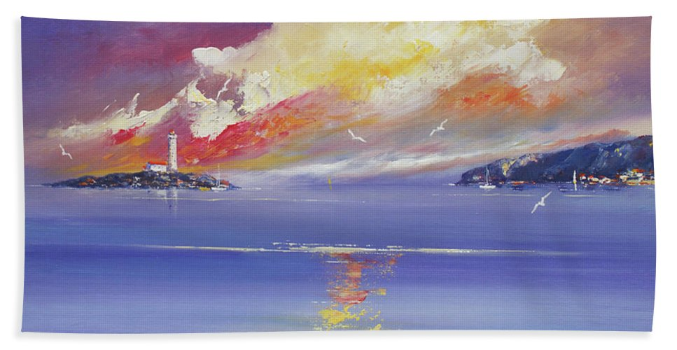 Seascapes Beach Towel featuring the painting Morning Light by Miroslav Stojkovic