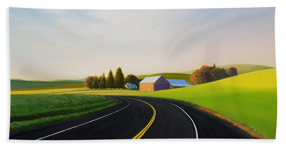 Barn Beach Towel featuring the painting Morning near Rosalia by Leonard Heid