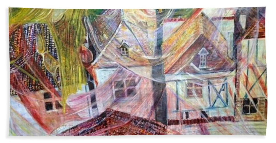 Village Beach Towel featuring the painting Morning Sunrise by Peggy Blood