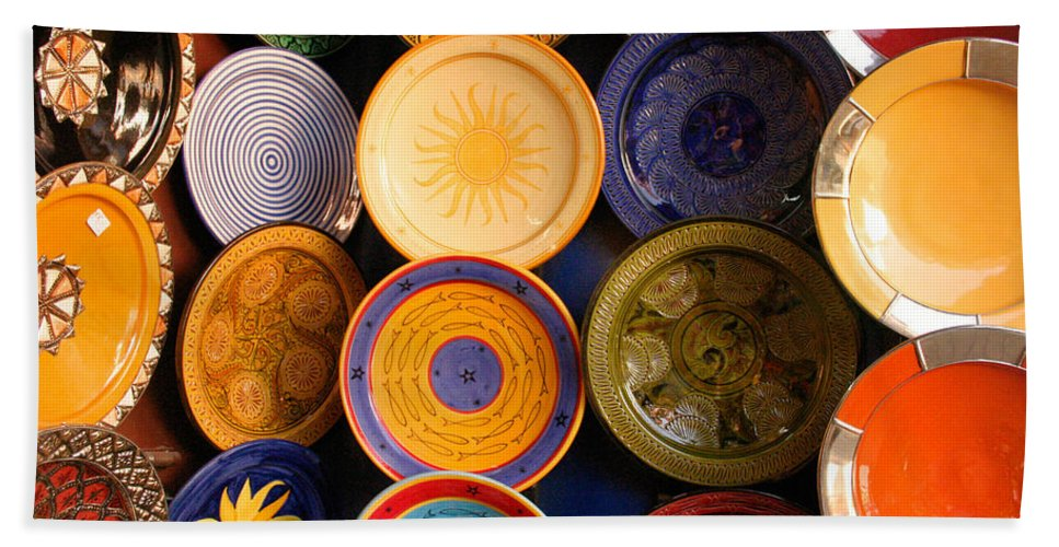 Morocco Beach Sheet featuring the photograph Moroccan Pottery On Display For Sale by Ralph A Ledergerber-Photography