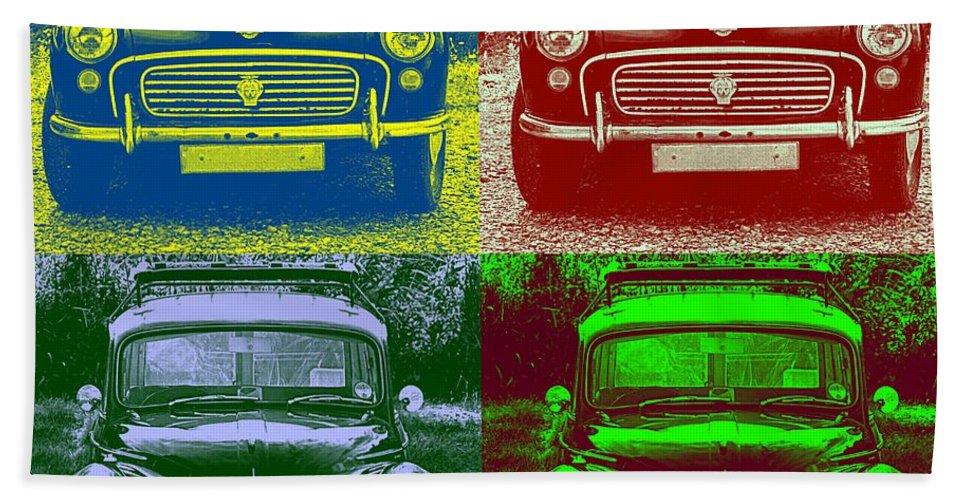 Car Beach Towel featuring the photograph Morris Car In Pop Art by Chevy Fleet