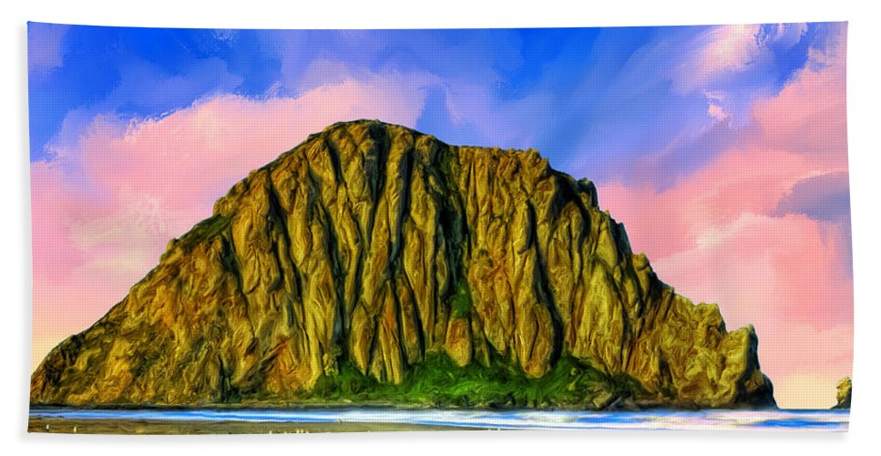 Morro Rock Beach Towel featuring the painting Morro Rock Sunset by Dominic Piperata