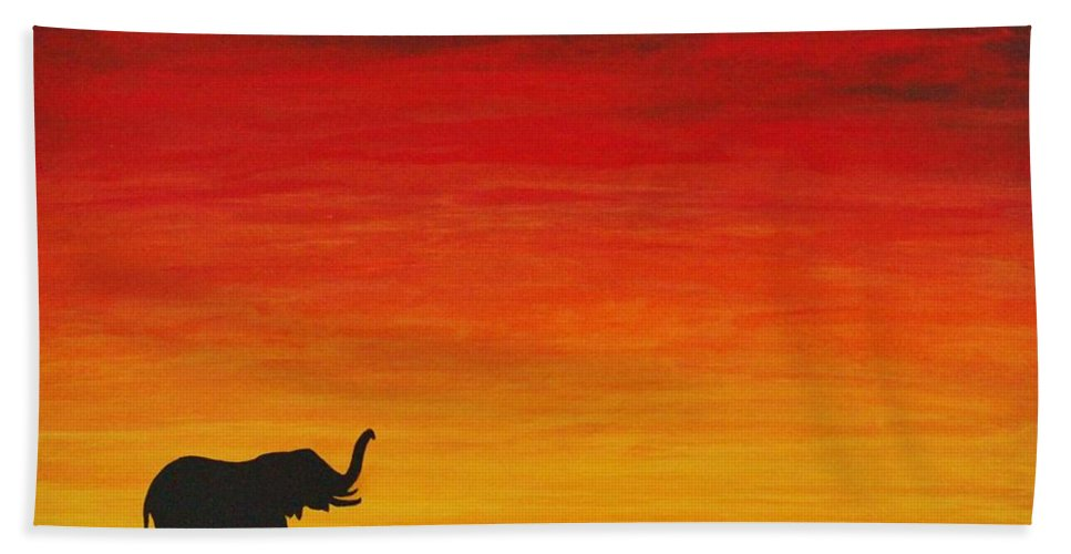 African Beach Towel featuring the painting Mother Africa 1 by Michael Cross