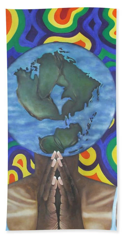 Earth Beach Towel featuring the painting Mother Earth The Beginning Of Time by Jamie Preston