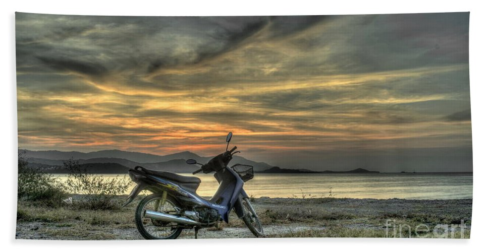 Michelle Meenawong Beach Towel featuring the photograph Motorbike At Sunset by Michelle Meenawong