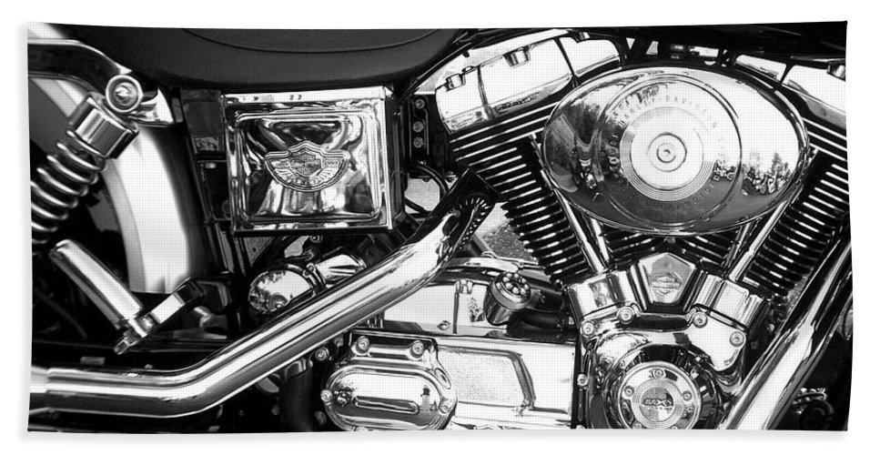 Motorcycles Beach Towel featuring the photograph Motorcycle Close-up Bw 3 by Anita Burgermeister