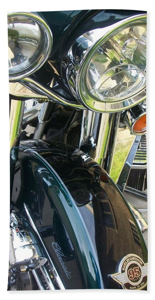 Motorcycles Beach Sheet featuring the photograph Motorcyle Classic Headlight by Anita Burgermeister