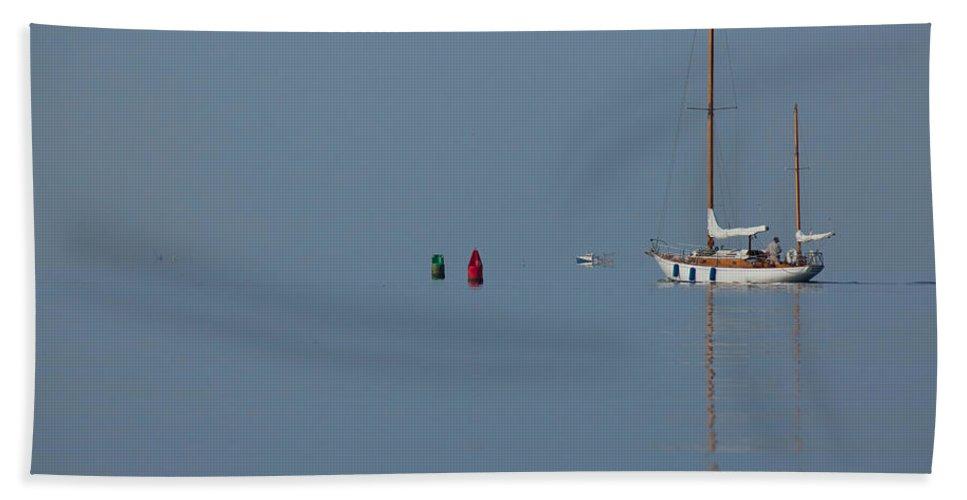 Sailboat Beach Towel featuring the photograph Motoring Sail by Karol Livote