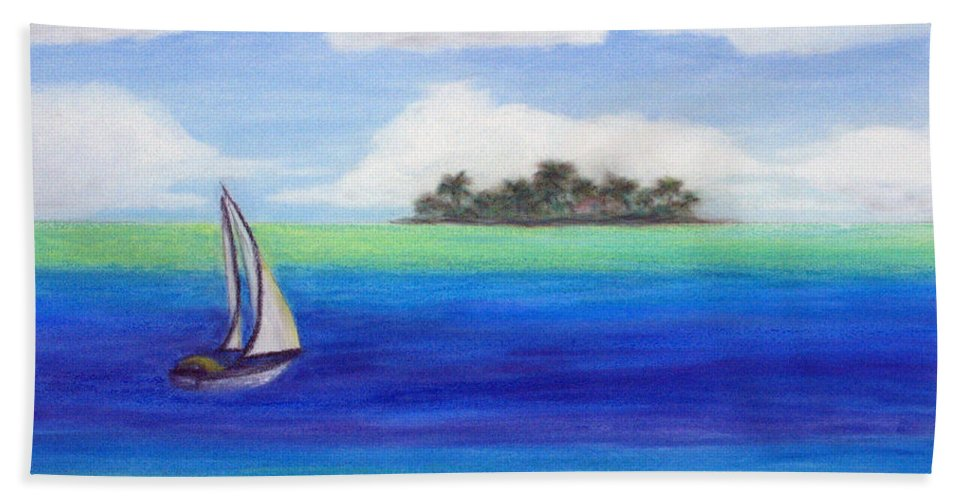 Motu Beach Towel featuring the painting Motu Sailing by Patricia Beebe
