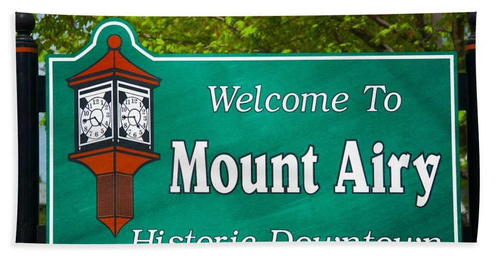 Mt. Airy Beach Towel featuring the photograph Mount Airy Sign Nc by Bob Pardue