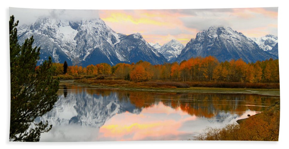 Wyoming Beach Towel featuring the photograph Mount Moran Reflection Sunset by Ed Riche