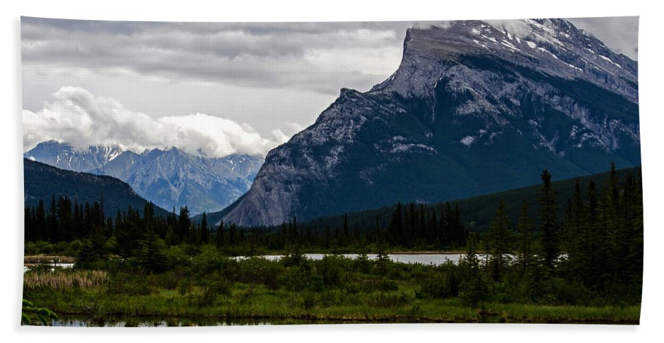 Vermilion Beach Towel featuring the photograph Mount Rundle And Vermilion Lake by Jordan Blackstone