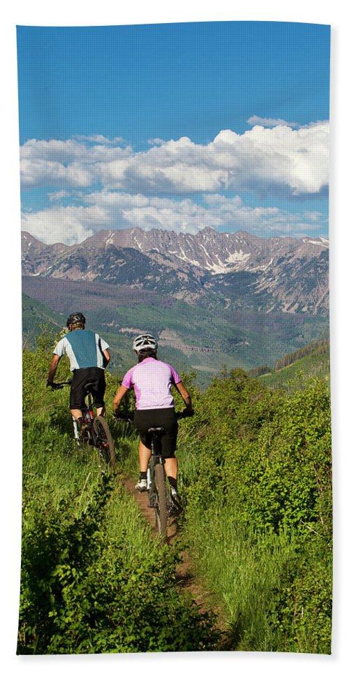 30-34 Years Beach Sheet featuring the photograph Mountain Biking by Jack Affleck