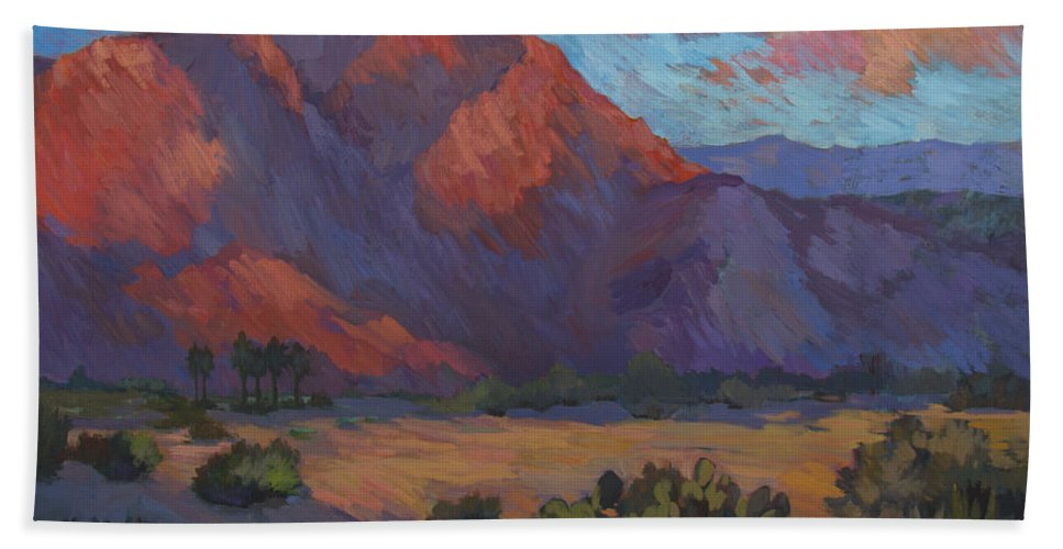 Mountain Majesty Beach Towel featuring the painting Mountain Majesty by Diane McClary