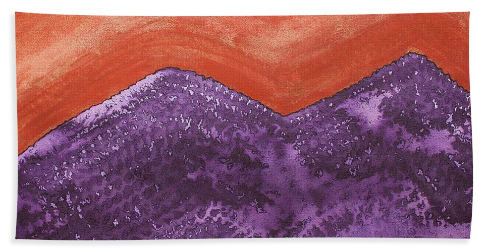 Mountains Beach Towel featuring the painting Mountain Majesty Original Painting by Sol Luckman