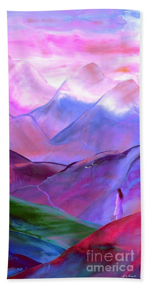 Meditation Beach Towel featuring the painting Mountain Reverence by Jane Small