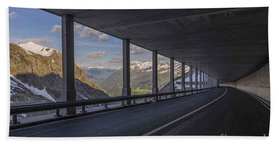 Mountain Beach Towel featuring the photograph Mountain Road And Tunnel by Mats Silvan