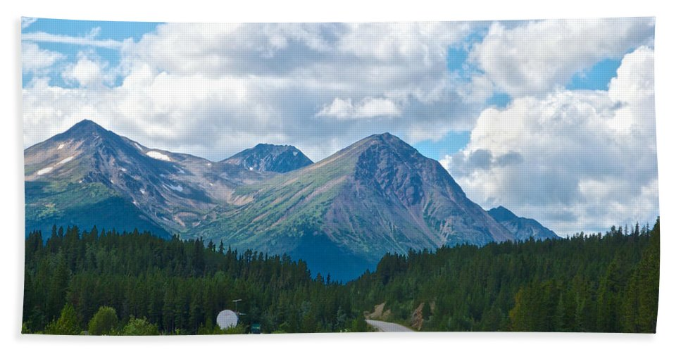 Mountains Along Cassiar Highway Beach Towel featuring the photograph Mountains Along Cassiar Highway In Yt by Ruth Hager