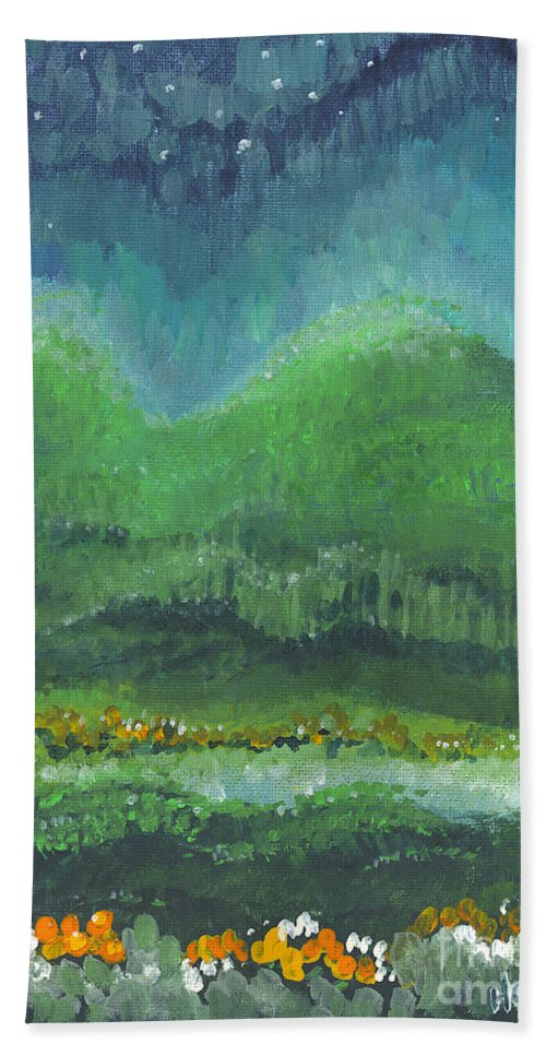 Night Beach Towel featuring the painting Mountains At Night by Holly Carmichael