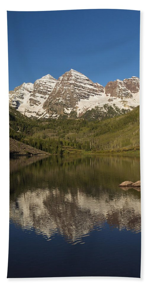 Maroon Beach Towel featuring the photograph Mountains Co Maroon Bells 7 by John Brueske