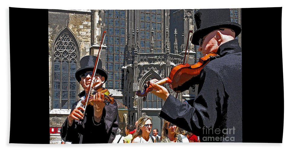 Buskers Beach Towel featuring the photograph Mozart In Masquerade by Ann Horn