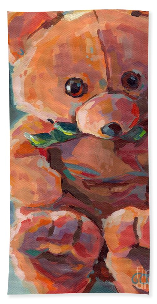 Teddy Bear Beach Towel featuring the painting Mr Snuggles by Kimberly Santini