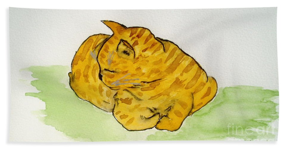 Cat Painting Beach Sheet featuring the painting Mr. Yellow by Reina Resto