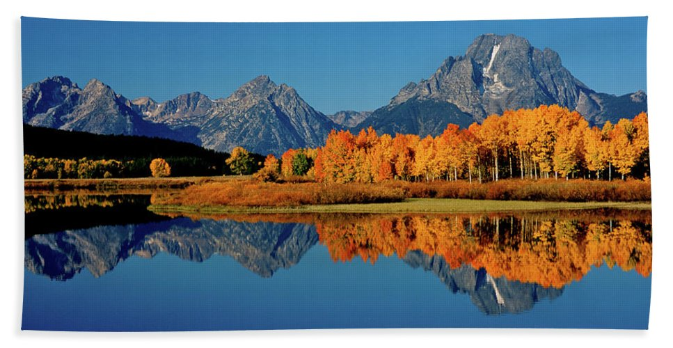 National Park Beach Towel featuring the photograph Mt. Moran Reflection by Ed Riche