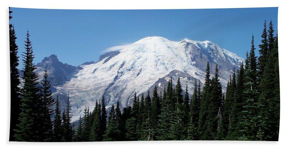 Mt. Rainier In August Beach Towel featuring the photograph Mt. Rainier In August by Chalet Roome-Rigdon