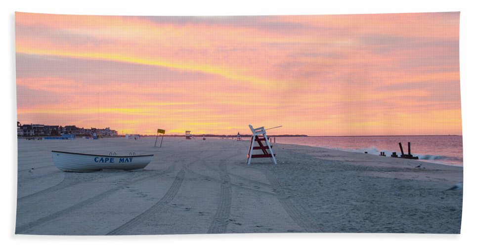 Multi Beach Towel featuring the photograph Multi Color Skies - Cape May New Jersey by Bill Cannon