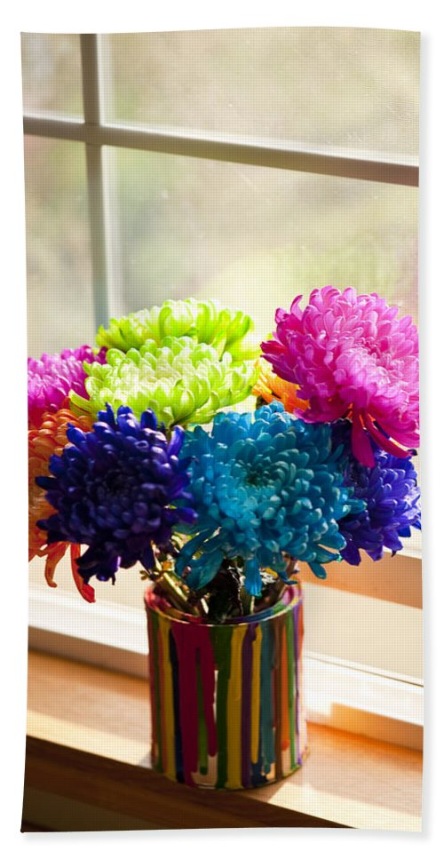 Art Beach Towel featuring the photograph Multicolored Chrysanthemums In Paint Can On Window Sill by Jim Corwin